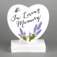"""natuursteen hart met text  """"In loving memory"""""""