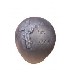 Grafbeeld bol met kruis Antraciet